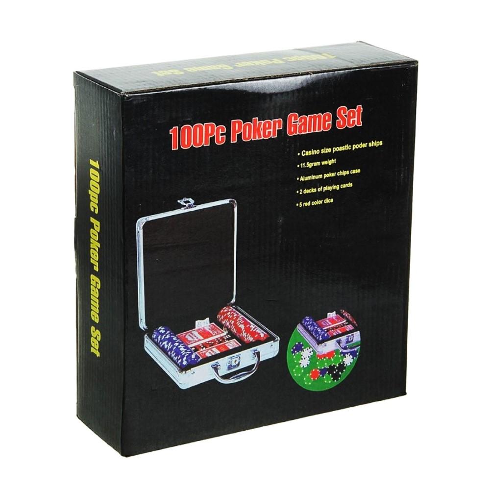 Покер в металлическом кейсе (карты 2 колоды, фишки 100 шт, 5 кубиков)