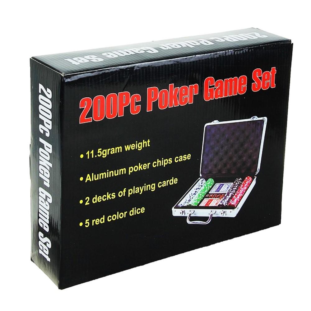 Покер в металлическом кейсе (карты 2 колоды, фишки 200 шт, 5 кубиков)