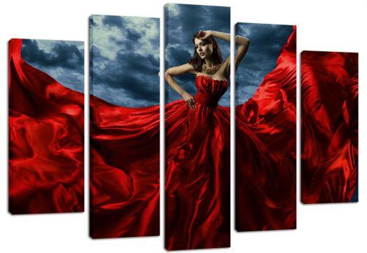 Модульная картина Девушка в красном платье