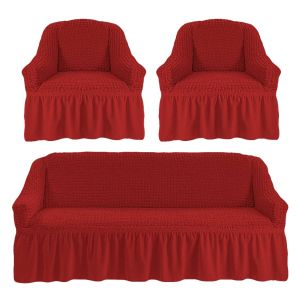 Чехол на диван и 2 кресла с оборкой ,Бордовый