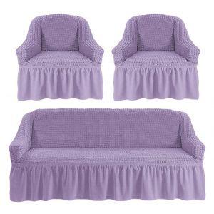 Чехол на диван и 2 кресла с оборкой ,лиловый
