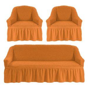 Чехол на диван и 2 кресла с оборкой ,рыжий