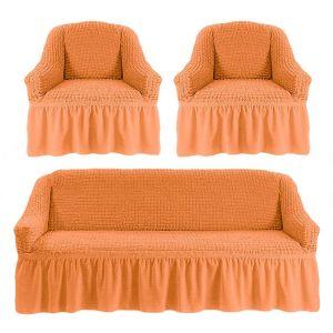 Чехол на диван и 2 кресла с оборкой,коралловый