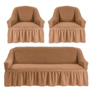 Чехол на диван и 2 кресла с оборкой,песочный