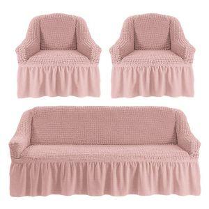 Чехол на диван и 2 кресла с оборкой,Сухая роза