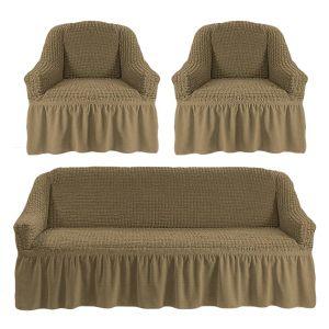 Чехол на диван и 2 кресла с оборкой,темно-оливковый