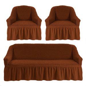 Чехол на диван и 2 кресла с оборкой,темно-рыжий