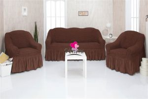Чехол на диван и 2 кресла с оборкой,Шоколад