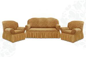 """Комплект чехлов """"Престиж"""" из 3х предметов (трехместный диван и 2 кресла)с оборкой,10024 кофе с молоком"""
