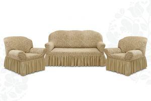 """Комплект чехлов """"Престиж"""" из 3х предметов (трехместный диван и 2 кресла)с оборкой,10024 капучино"""