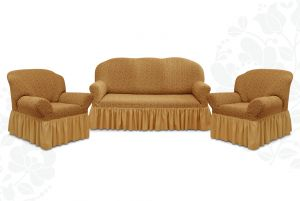 """Комплект чехлов """"Престиж"""" из 3х предметов (трехместный диван и 2 кресла)с оборкой,10054 кофе с молоком"""