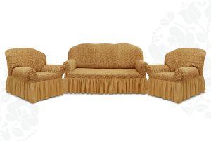 """Комплект чехлов """"Престиж"""" из 3х предметов (трехместный диван и 2 кресла)с оборкой,10034 кофе с молоком"""