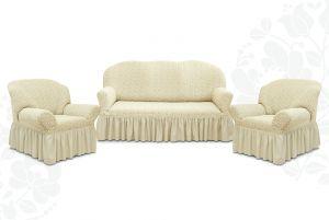 """Комплект чехлов """"Престиж"""" из 3х предметов (трехместный диван и 2 кресла)с оборкой,10034 ваниль"""