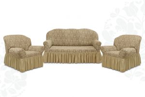 """Комплект чехлов """"Престиж"""" из 3х предметов (трехместный диван и 2 кресла),10027 капучино"""