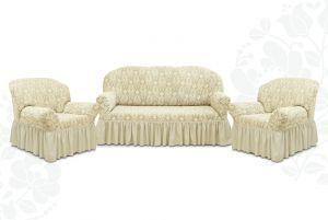 """Комплект чехлов """"Престиж"""" из 3х предметов (трехместный диван и 2 кресла),10027 ваниль"""