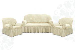 """Комплект чехлов """"Престиж"""" из 3х предметов (трехместный диван и 2 кресла),10044 ваниль"""