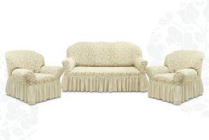 """Комплект чехлов """"Престиж"""" из 3х предметов (трехместный диван и 2 кресла),10096 ваниль"""