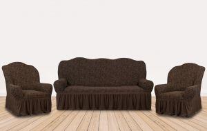 """Комплект чехлов КП311С """"Жаккард"""" из 3х предметов (трехместный диван и 2 кресла), арт. KAR 002-01 K.Kahve"""