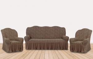 """Комплект чехлов КП311С """"Жаккард"""" из 3х предметов (трехместный диван и 2 кресла), арт. KAR 002-04 A.Kahve"""