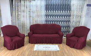 """Комплект чехлов КП311С """"Жаккард"""" из 3х предметов (трехместный диван и 2 кресла), арт. KAR 003-05 Bordo"""