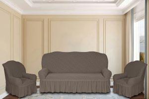 """Комплект чехлов КП311С """"Жаккард"""" из 3х предметов (трехместный диван и 2 кресла), арт.KAR 011-10 Vizon"""