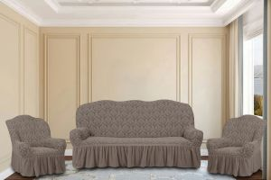 """Комплект чехлов КП311С """"Жаккард"""" из 3х предметов (трехместный диван и 2 кресла), арт.KAR 007-02 Vizon"""