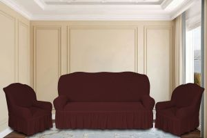 """Комплект чехлов КП311С """"Жаккард"""" из 3х предметов (трехместный диван и 2 кресла), арт. KAR 011-05 Bordo"""