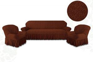 Чехол на диван и 2 кресла с оборкой Цветы,Шоколад