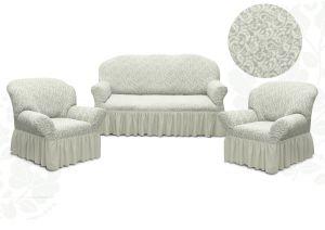 Чехол на диван и 2 кресла с оборкой Цветы,Ваниль