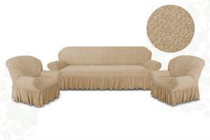 Чехол на диван и 2 кресла с оборкой Цветы,Бежевый
