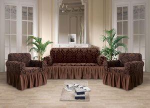 Чехол на диван и 2 кресла с оборкой Рельефный рисунок , Шоколад