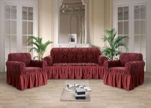 Чехол на диван и 2 кресла с оборкой Рельефный рисунок , Бордовый