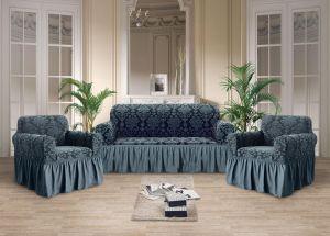 Чехол на диван и 2 кресла с оборкой Рельефный рисунок , Серый