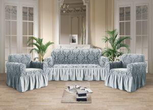 Чехол на диван и 2 кресла с оборкой Рельефный рисунок , Светло-Серый