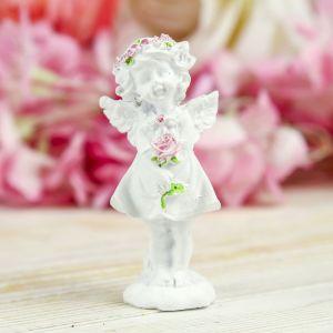 """Сувенир полистоун """"Ангел-девочка в розовом венке с розой"""" МИКС 7,8х3,8х2,5 см   3734537"""