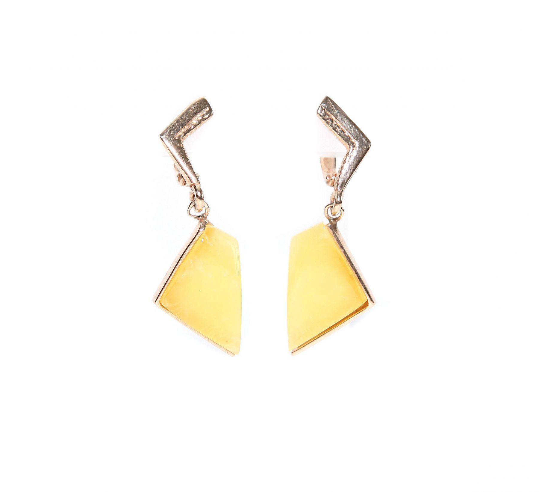"""Позолоченные серьги с желтым янтарем """"Камея"""""""