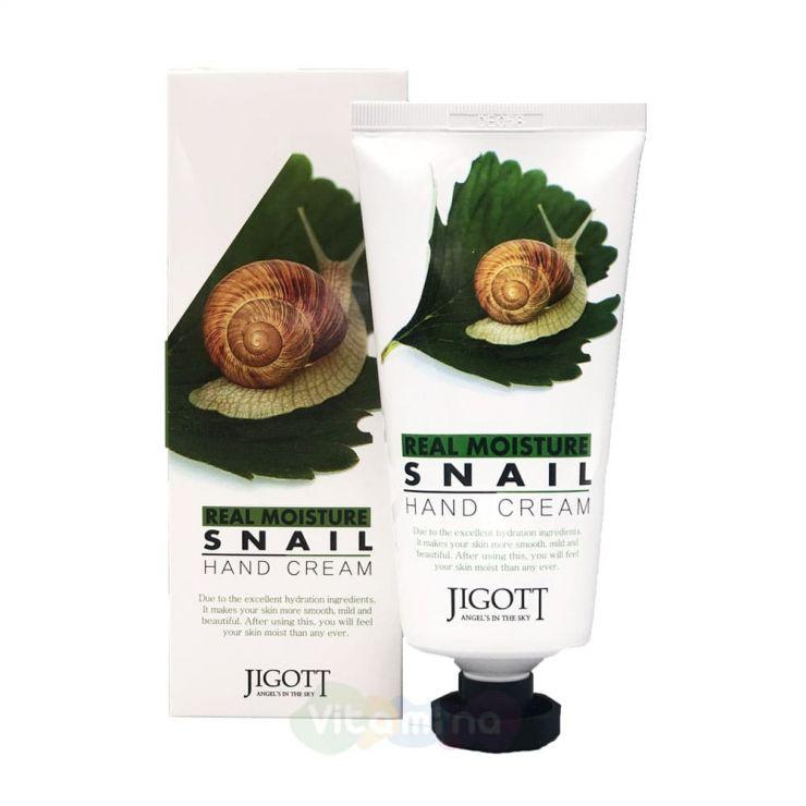 Jigott Крем для рук с муцином улитки Real Moisture Snail Hand Cream, 100 мл