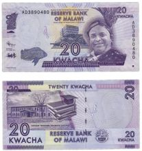 Банкнота 20 квач 2016 года - Малави - UNC
