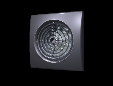 AURA 4C dark gray metal, Вентилятор осевой вытяжной с обратным клапаном D 100