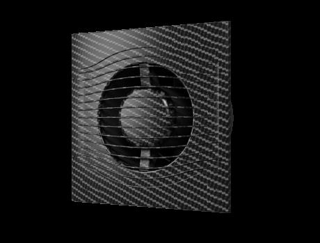 SLIM 4C Black Carbon, Вентилятор осевой вытяжной с обратным клапаном D 100, декоративный