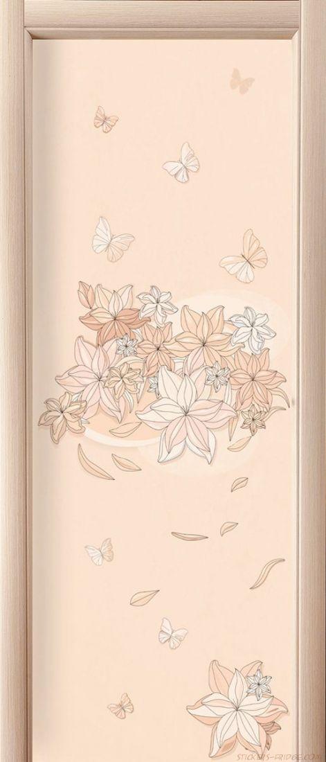 Наклейка  на дверь - Floral-1