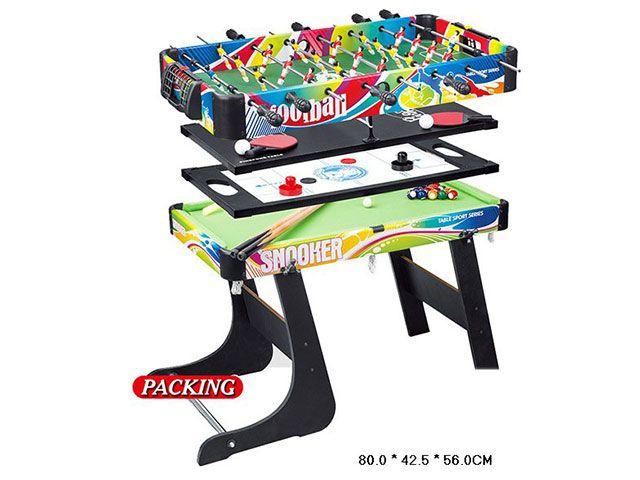 H6008-4 Игровой стол 4 в 1 хоккей, бильярд, настольный теннис, футбол кикер 80