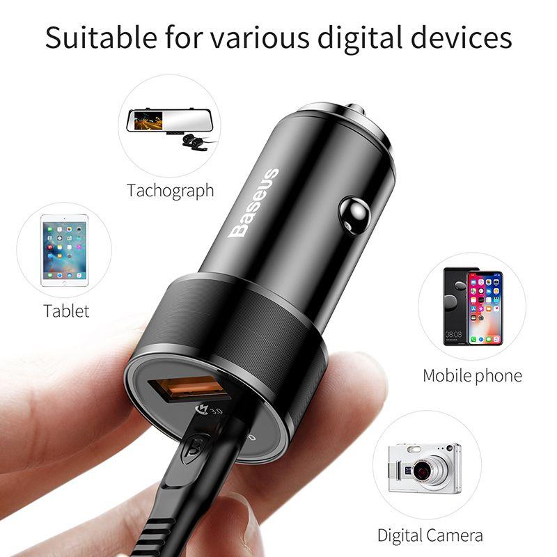 Автомобильное зарядное устройство Baseus Small Screw Type-C PD-USB Quick Charge Car Charger 36W Черное