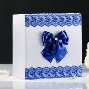 Коробка для денег «Семейный банк» с синим кружевом
