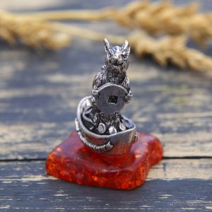 "Фигурка на камне мышка ""Процветания"", серебро состар., 2,6 х 3,8 см   3299472"