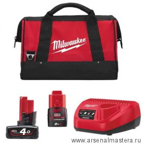 ЭНЕРГОКОМПЛЕКТ MILWAUKEE M12 EK-422B в сумке 4932430065-4932430064-АМ