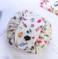 Ленивая нейлоновая косметичка-мешок с рисунком на липучке, белый с тюбиками