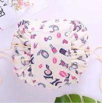 Ленивая нейлоновая косметичка-мешок с рисунком на липучке, бежевый с помадой