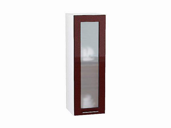 Шкаф верхний Валерия В309 со стеклом (гранатовый металлик)
