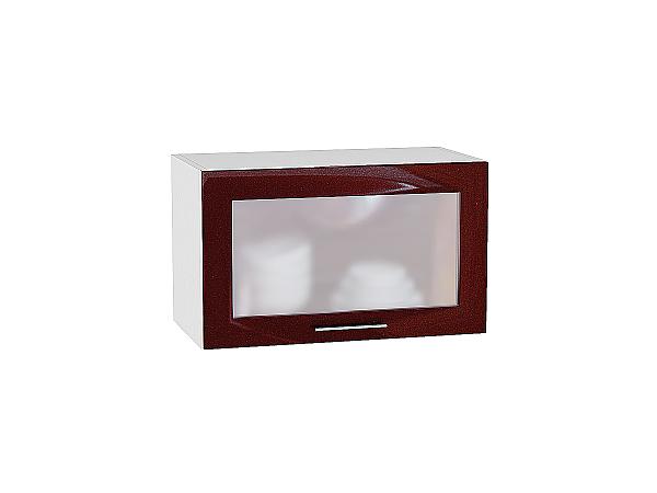 Шкаф верхний Валерия ВГ600 со стеклом (гранатовый металлик)